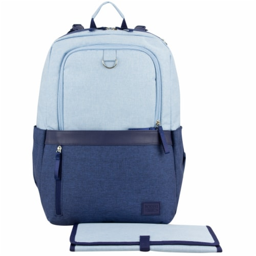 Bodhi Rubin Athleisure Tech Backpack Diaper Bag - Light Blue Chambray Perspective: front