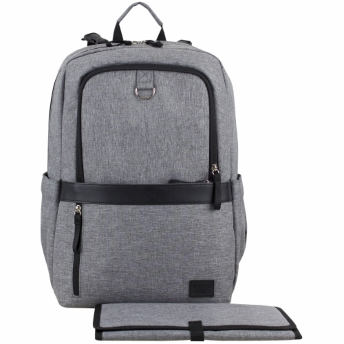 Bodhi Baby Rubin Weekender Tech Diaper Backpack - Mid-grey Chambray Perspective: front