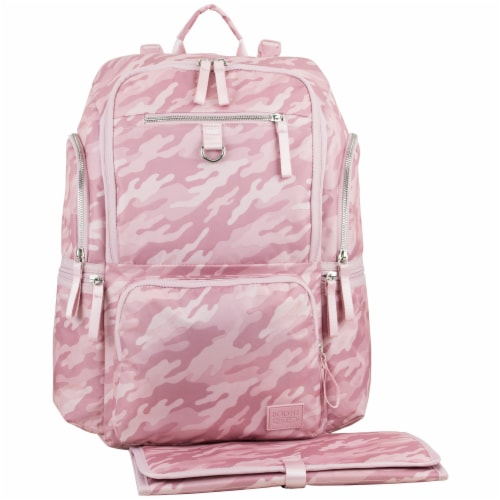 Bodhi Lafayette Street Multi-Function Backpack Diaper Bag - Pink Fluid Camo Perspective: front