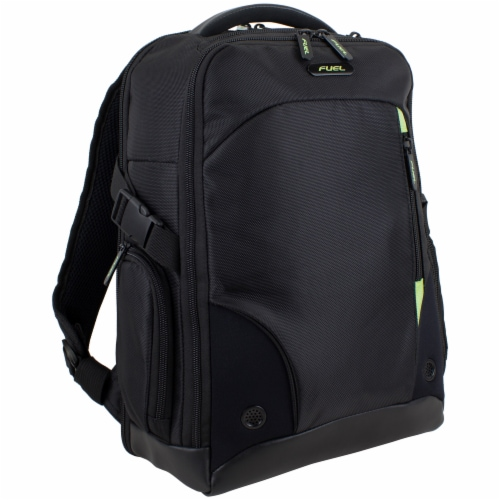 Fuel Sentry TSA Friendly Tech Backpack - Black with Celery Trim Perspective: front
