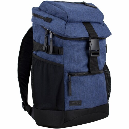 Fuel Barrier Top-Loading Backpack w/ Insulated Zip-Cooler Flap Pocket - Blue Perspective: front