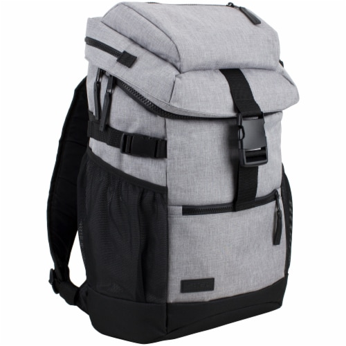Fuel Barrier Top-Loading Backpack w/ Insulated Zip-Cooler Flap Pocket - Light Grey Chambray Perspective: front