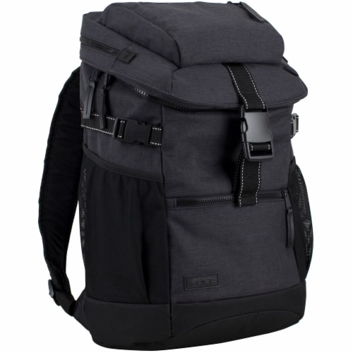 Fuel Barrier Top-Loading Backpack w/ Insulated Zip-Cooler Flap Pocket - Black Perspective: front