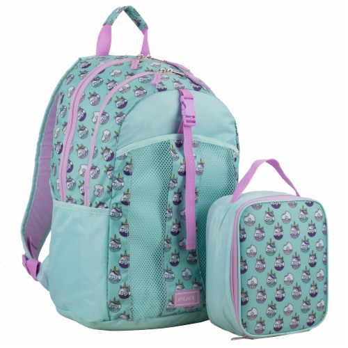 Fuel Deluxe Backpack/Lunch Bag Combo - Pink/Blue Perspective: front