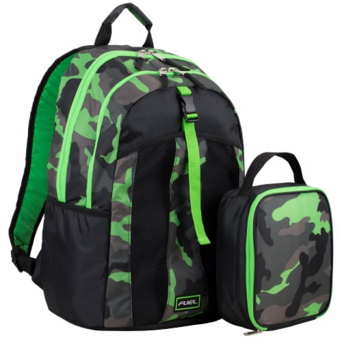 Fuel Deluxe Backpack/Lunch Bag Combo - Green/Black Perspective: front