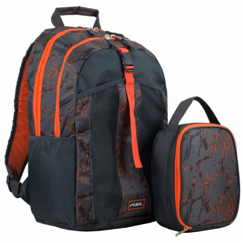 Fuel Deluxe Backpack/Lunch Bag Combo - Black/Orange Perspective: front