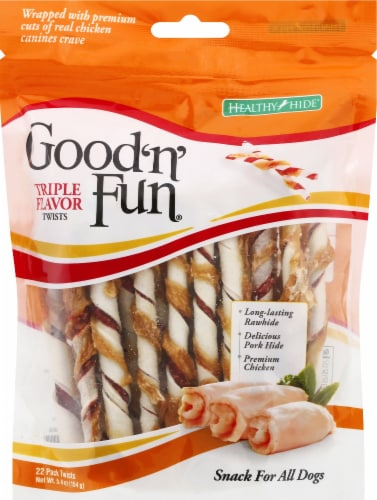 Healthy Hide Good 'n' Fun Triple Flavor Twists Dog Treats 22 Count Perspective: front