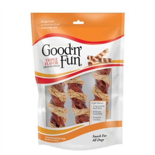 Good 'n' Fun Triple Flavor Chicken Wrapped Spirals Dog Treats Perspective: front