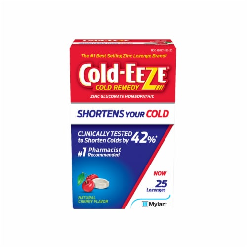 Cold-EEZE Natural Cherry Flavor Cold Remedy Lozenges 25 Count Perspective: front