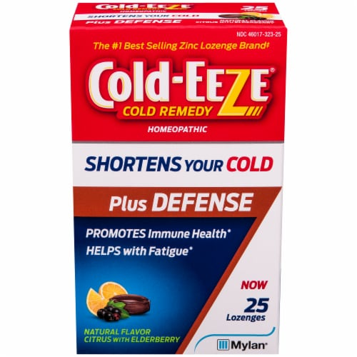 Cold-EEZE Plus Defense Natural Citrus with Elderberry Flavor Cold Remedy Lozenges Perspective: front