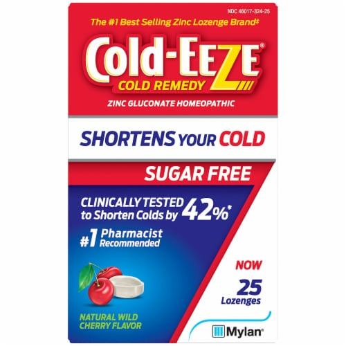 Cold-EEZE Sugar Free Natural Wild Cherry Flavor Cold Remedy Lozenges Perspective: front