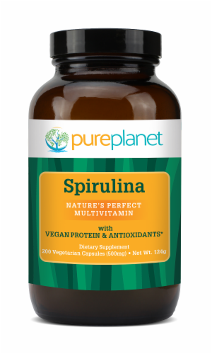 Pure Planet Spirulina 500 mg Capsules Perspective: front