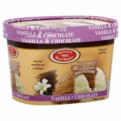 Klein's Real Kosher Smooth & Creamy Vanilla Chocolate Ice Cream Perspective: front