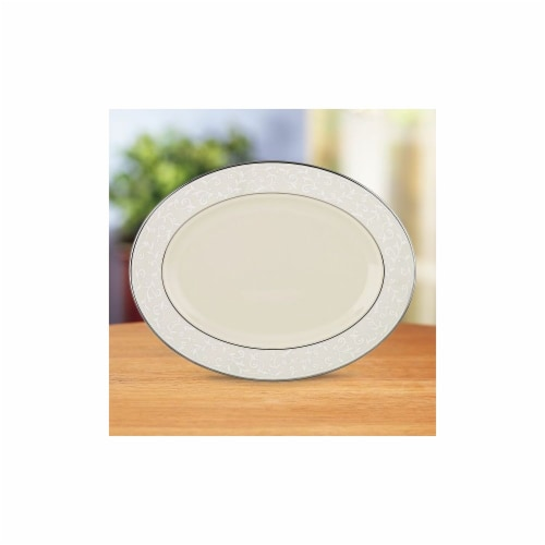 Lenox Pearl Innocence Oval Platter-16 in. Perspective: front
