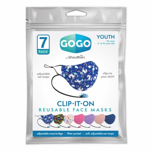 GoGo Clip-IT-ON Youth Girls Face Mask Perspective: front