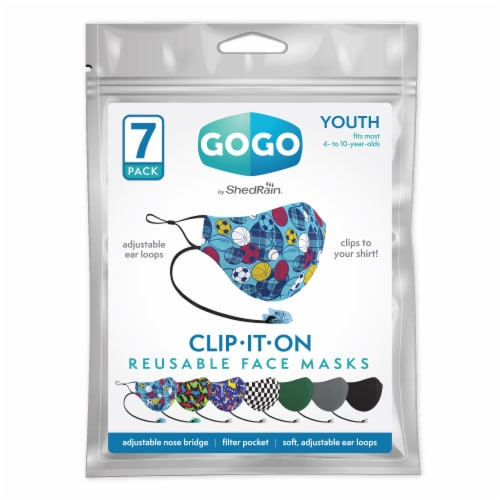 GoGo Clip-IT-ON Youth Boys Face Mask Perspective: front