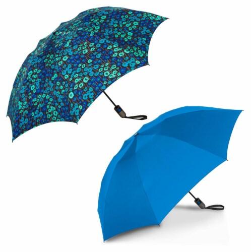 ShedRain Reverse UnbelievaBrella Auto Open Umbrellas - Ocean/Monet Perspective: front