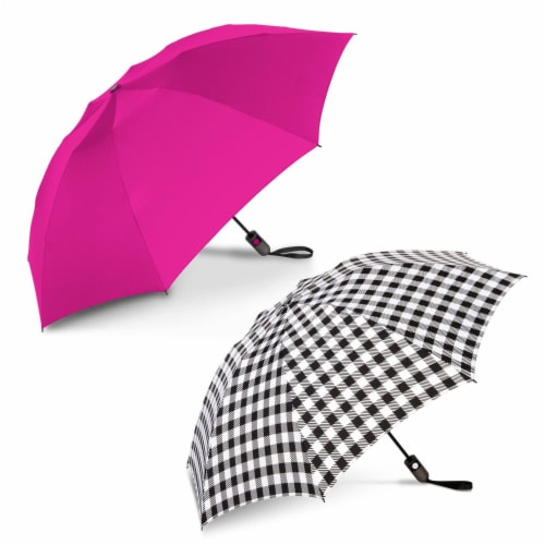 ShedRain Reverse UnbelievaBrella Auto Open Umbrellas - Hot Pink/Bison Perspective: front