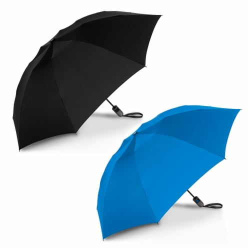 ShedRain Reverse UnbelievaBrella Auto Open Umbrellas - Black/Ocean Perspective: front