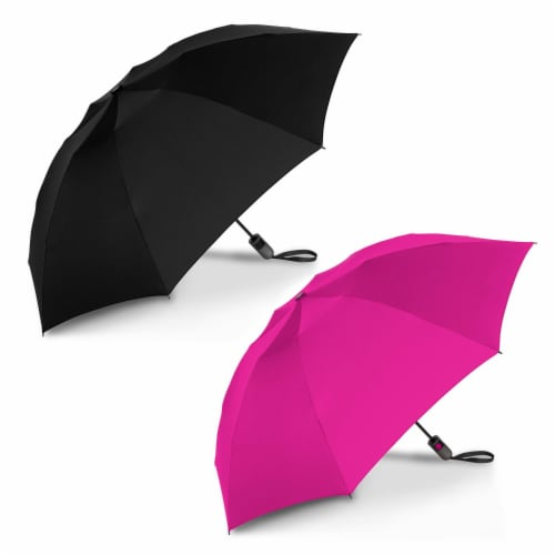 ShedRain Reverse UnbelievaBrella Auto Open Umbrellas - Black/Pink Perspective: front
