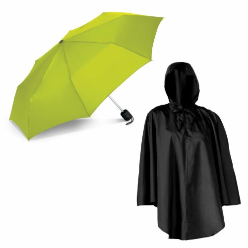 ShedRain Pouchables Poncho + Manual Umbrella - Black/Lime Perspective: front