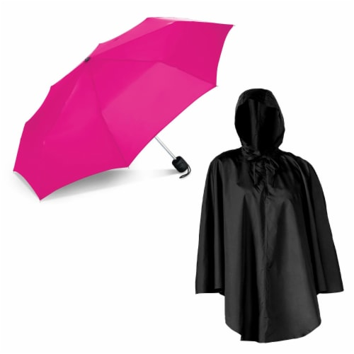 ShedRain Pouchables Poncho + Manual Umbrella - Black/Pink Perspective: front