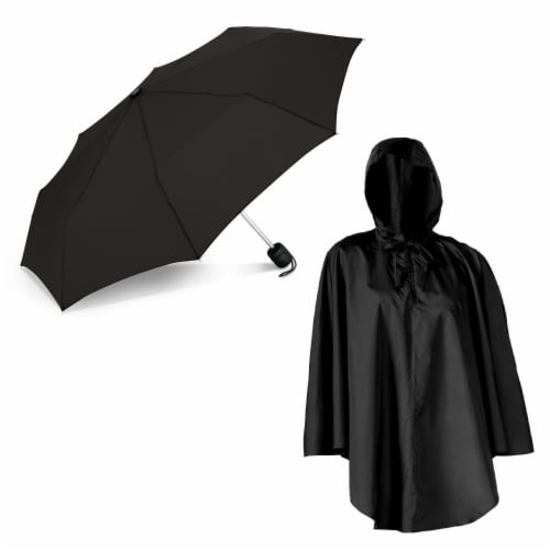 ShedRain Pouchables Poncho + Manual Umbrella - Black Perspective: front