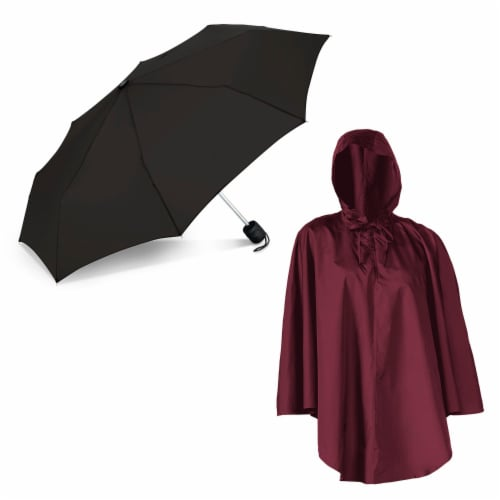 ShedRain Pouchables Poncho + Manual Umbrella - Rhubarb/Black Perspective: front