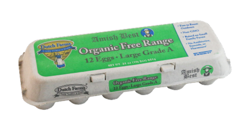 Dutch Farms Organic Free Range Grade A Large Eggs Perspective: front