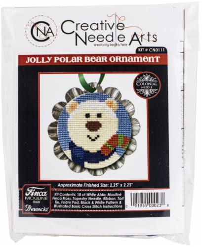 Colonial Needle Counted Cross Stitch Kit 2.25 X2.25 -Jolly Polar Bear Tart Tin (18 Count) Perspective: front