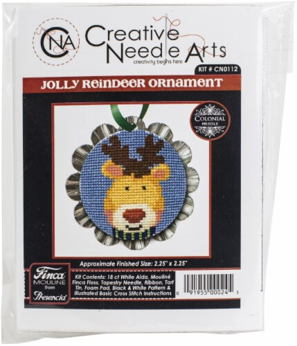 Colonial Needle Counted Cross Stitch Kit 2.25 X2.25 -Jolly Reindeer Tart Tin (18 Count) Perspective: front