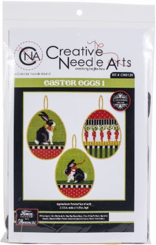 Colonial Needle Counted Cross Stitch Kit 2.5 X3.125  3/Pkg-Easter Eggs 1 (18 Count) Perspective: front