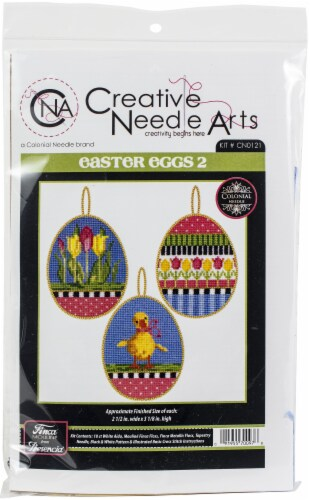 Colonial Needle Counted Cross Stitch Kit 2.5 X3.125  3/Pkg-Easter Eggs 2 (18 Count) Perspective: front