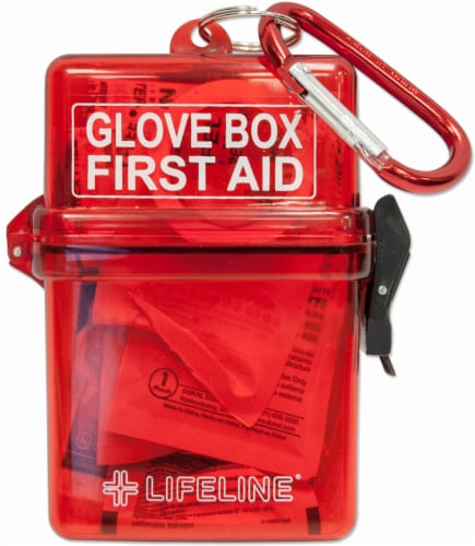 Lifeline Weather Resistant Glove Box First Aid Kit - Red Perspective: front