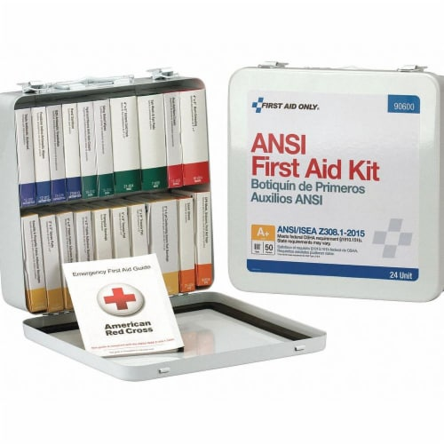First Aid Only First Aid Kit,50 People,Metal,24 Comp. Perspective: front