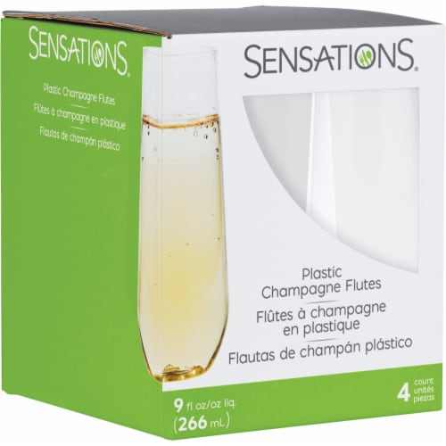 Sensations Clear Plastic Stemless Champagne Flutes Perspective: front