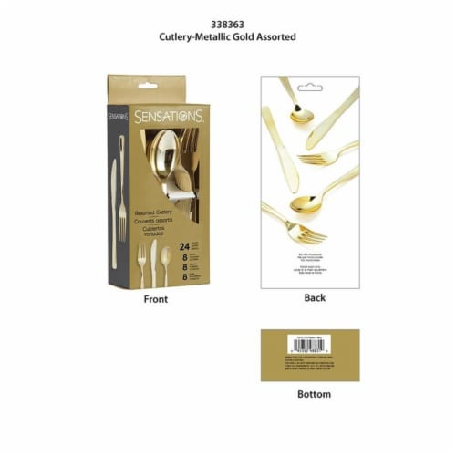 Creative Converting 338363 Assorted Cutlery, Metallic Gold - 24 Count Perspective: front