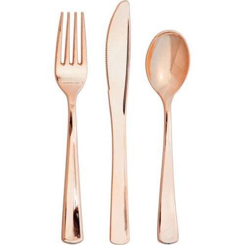 Creative Converting 338364 Assorted Cutlery, Metallic Rosegold - 24 Count Perspective: front