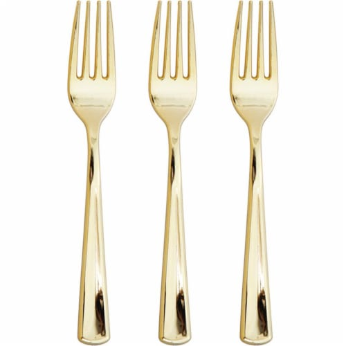 Creative Converting 338366 Metallic Gold Forks, 24 Count Perspective: front
