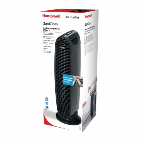 Honeywell QuietClean Tower Air Purifier Permanent Washable Filter Perspective: front