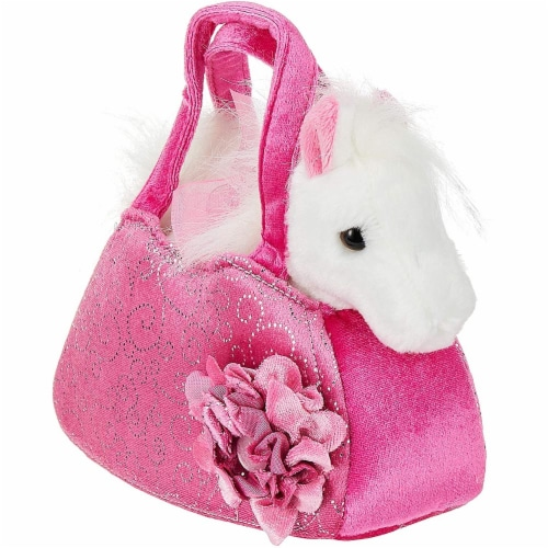 Aurora World Fancy Pals Plush Pink Pet Carrier Purse with White Pony Perspective: front