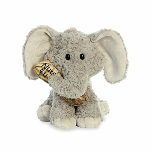 """Aurora World Val Sayings Nuts for You Elephant Plush Animal,  11.5"""" Perspective: front"""