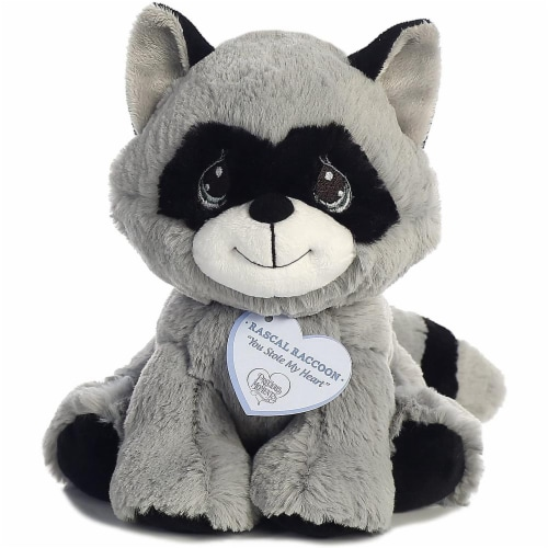 Rascal Raccoon 8 inch - Baby Stuffed Animal by Precious Moments (15705) Perspective: front