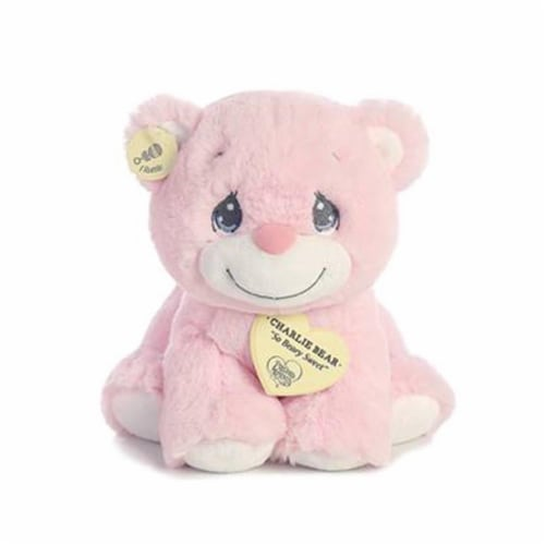 "Aurora World Precious Moments Charlie Bear With Rattle So Beary Sweet Plush, Pink, 8.5"" Perspective: front"