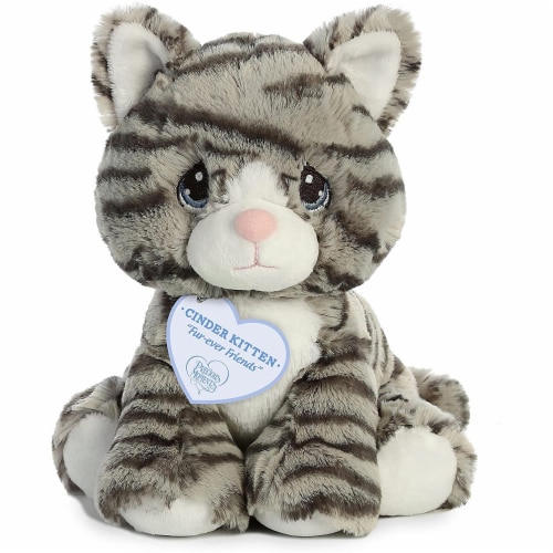 Aurora World Precious Moments Plush Toy, Gray Stiped Cat Perspective: front
