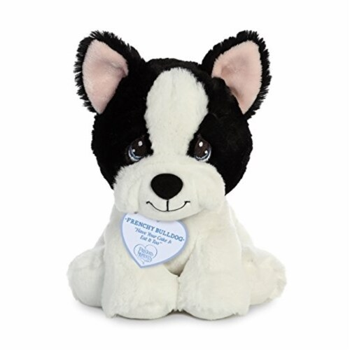 Aurora World Precious Moments Plush Animal, Black & White Dog Perspective: front