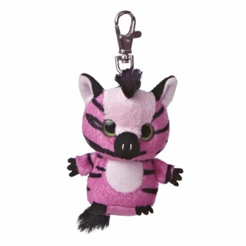 Stripee YooHoo Plush Pink Zebra Clip On by Aurora - 29055 Perspective: front