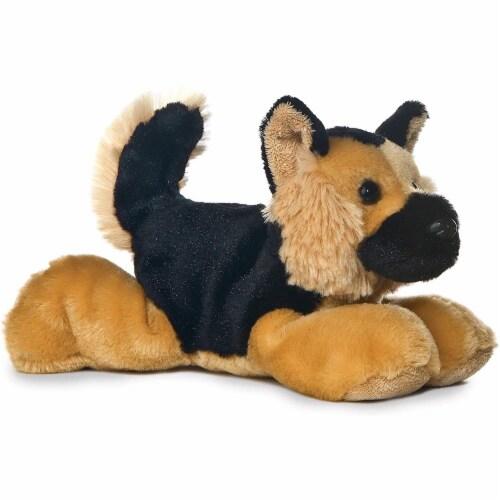 "Plush Shep German Shephard Mini Flopsie 8"" Stuffed Animal Perspective: front"