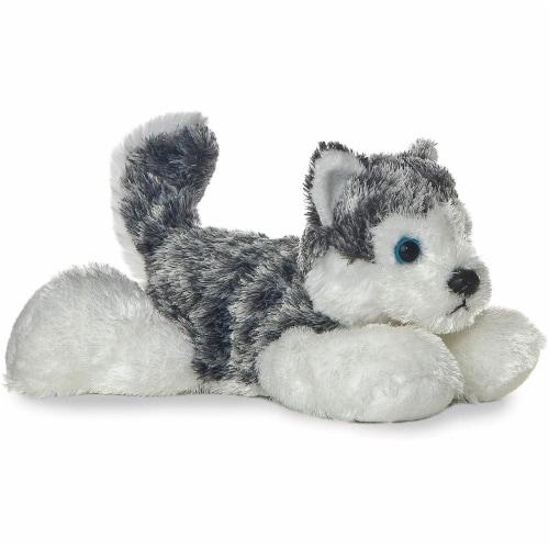 "Aurora Mush HUSKY 8"" Flopsie Plush Siberian Alaskan Dog Stuffed Animal Perspective: front"