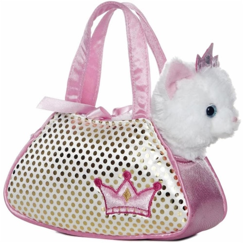 "Princess White Kitty Fancy Pal Pet Carrier 8"" Plush by Aurora - 32602 Perspective: front"